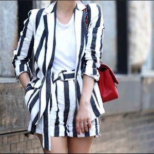 FRAME Navy White Striped Blazer Shorts Set 2/4